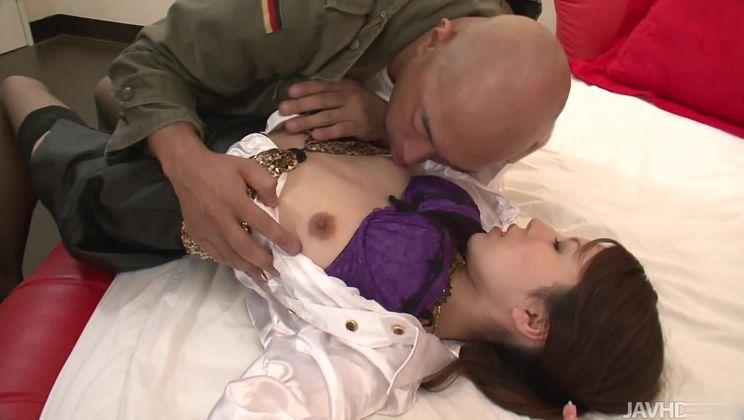 Marvelous oriental housemaid Rino Asuka is sucking penis