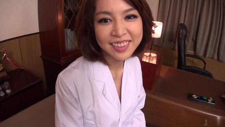 Charming asian nurse Erika Nishino is giving head