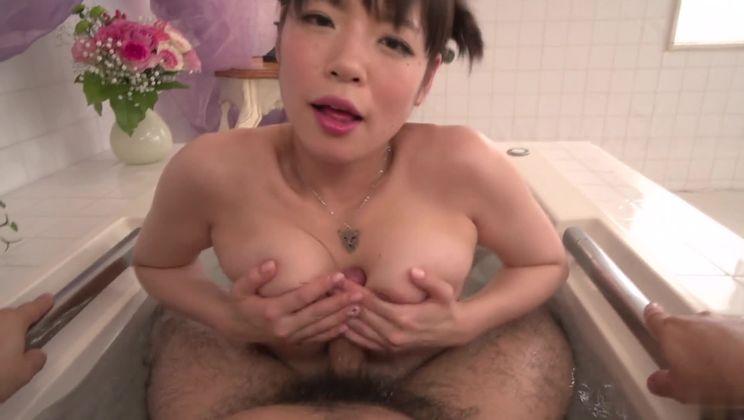 Racy oriental Nao Mizuki making guy happy by giving an amazing handjob