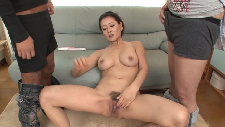 Attractive buxomy Japanese experienced woman Rei Kitajima brings man to ejaculation