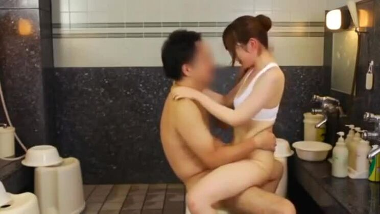 Tempting small titted Japanese hussy in public place