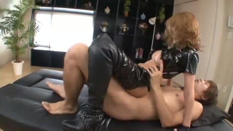 Pleasing busty oriental gal was gangbanged
