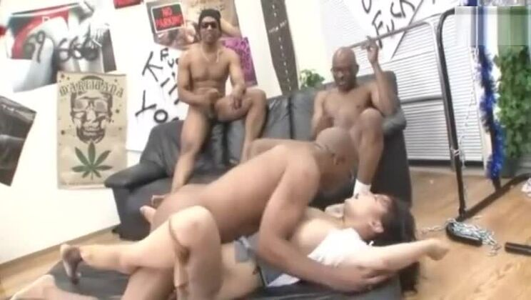 Stunning Japanese whore performing in a wild gangbang XXX scene