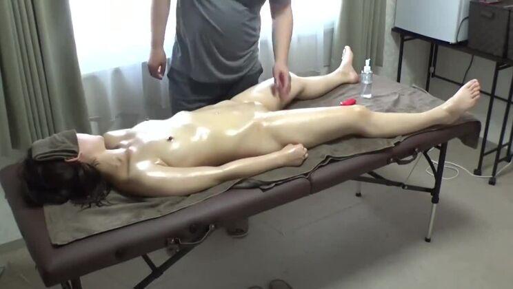 Alluring brunette asian girl in sex massage video