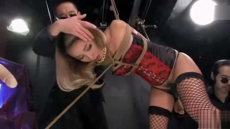 Winsome towheaded asian bitch in fetish porn video
