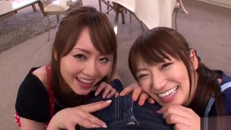 Threesome porn video featuring Saki Kouzai and Akiho Yoshizawa