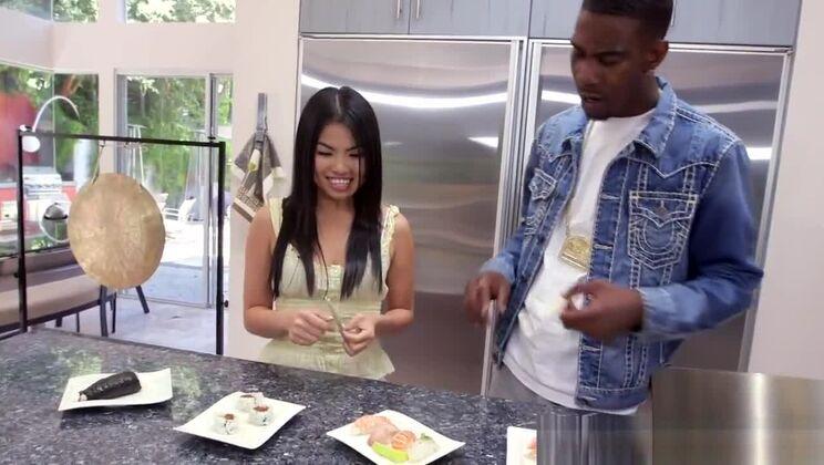 Chopstick asian cocksucking black guy