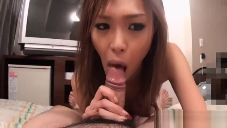 Two hot Japanese darlings tackle lucky stud's thick pecker