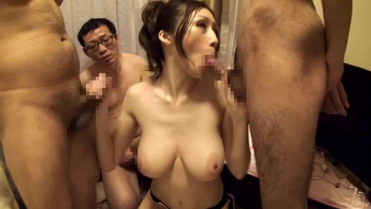 Crazy Japanese model JULIA in Fabulous big natural tits, gangbang JAV clip