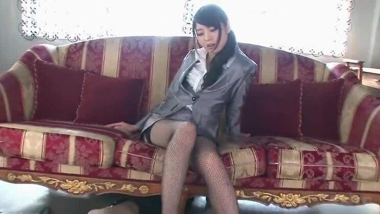 Nice oriental youthful slut Yura Sakura in foot fetish sex movie