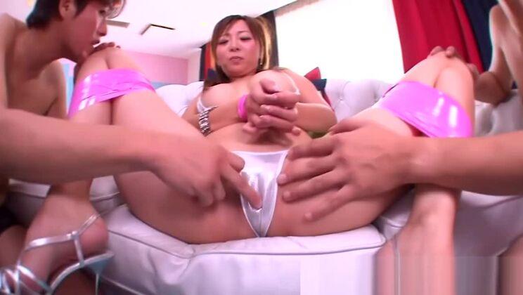Busty japanese milf in mmf threeway fucked