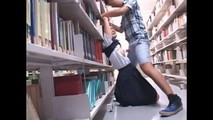 Asian schoolgirl tit fucked hardcore in the library